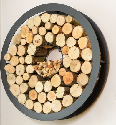 Harrod UK Round Wall Hung Black Log Store