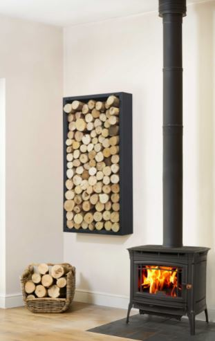 Harrod UK Square Wall Hung Standing Black Log Store