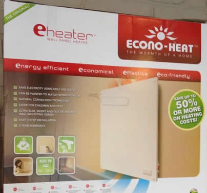 Econo-heat wall panel heater. Unobtrusive, paintable, kid and pet safe and using only 400 Watts to provide a wide area gentle warmth. Very economical.